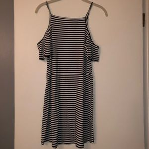 Black & White Striped Cut off shoulder dress